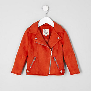 Mini girls red faux suede biker jacket