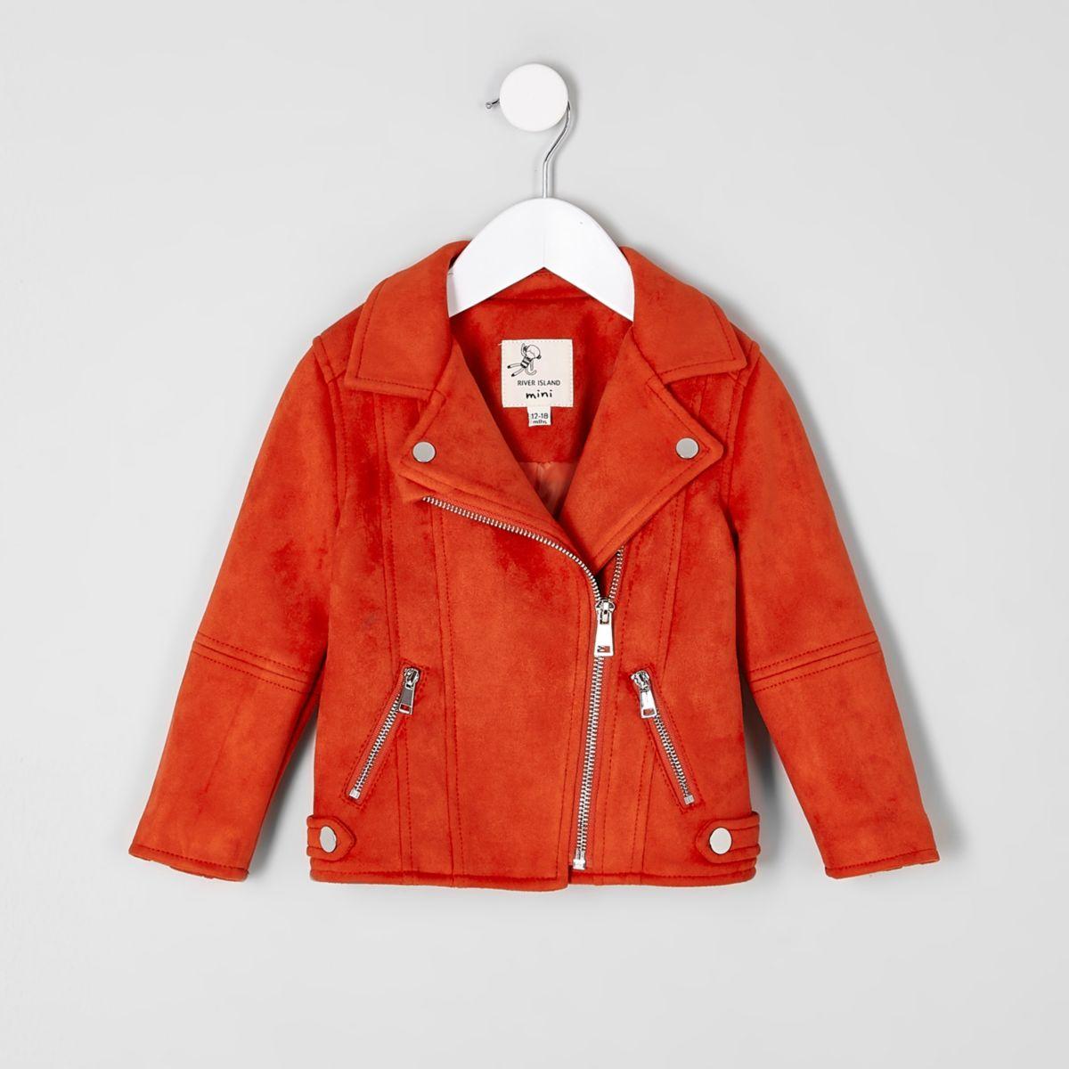 Mini girls red faux suede biker jacket