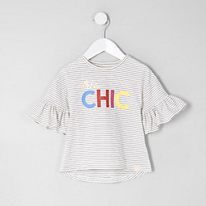 Mini girls white stripe 'chic' T-shirt