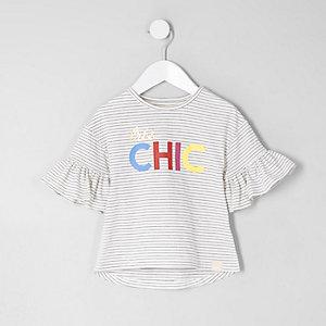 Mini - Wit gestreept T-shirt met 'chic'-print voor meisjes