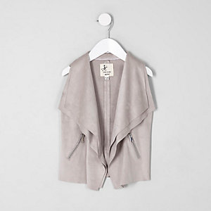 Mini girls grey faux suede waterfall vest