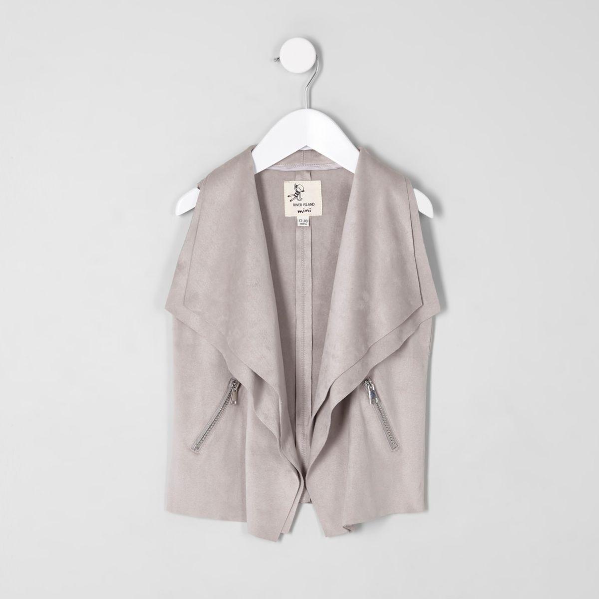 Mini girls grey faux suede waterfall vest