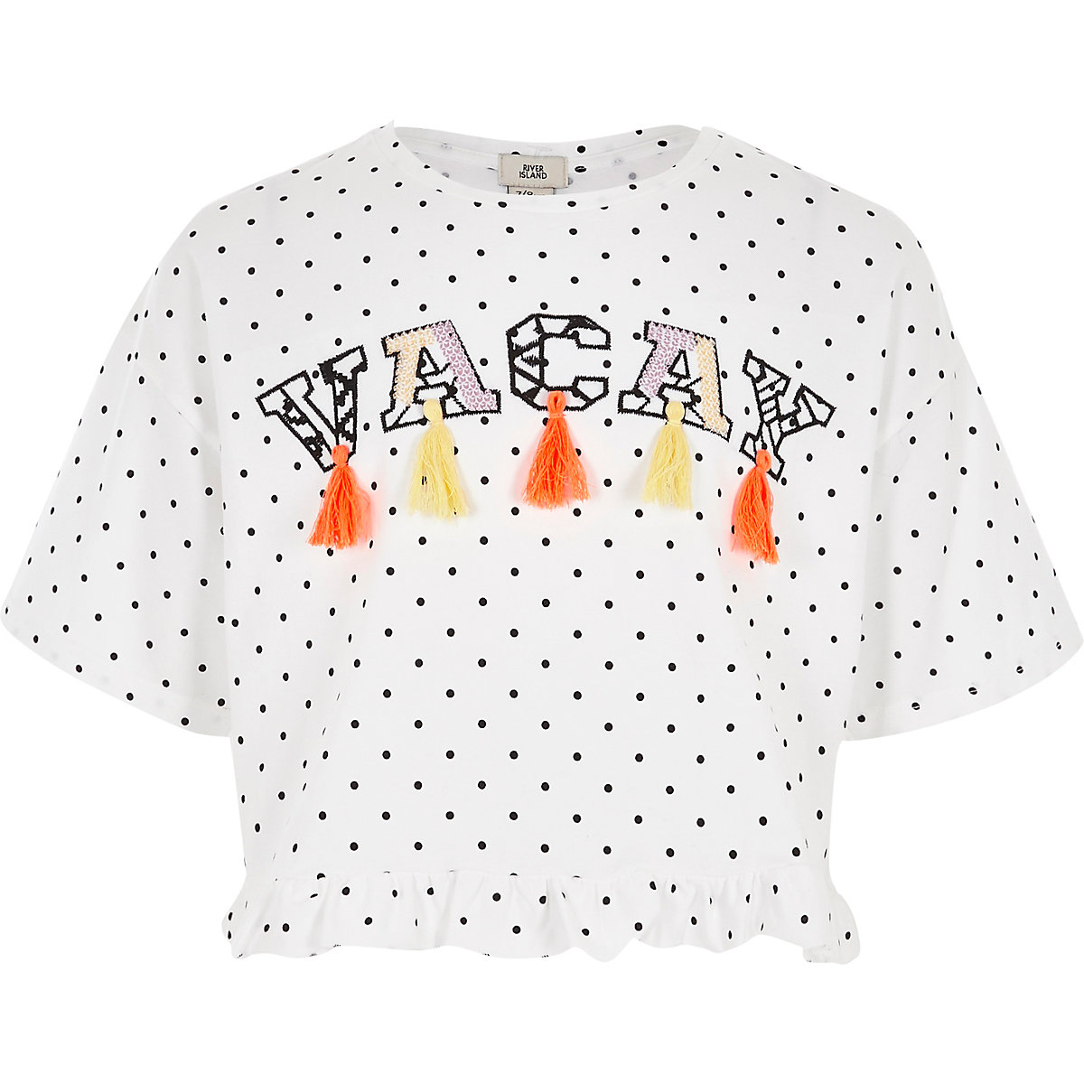 Girls white 'vacay' polka dot frill T-shirt