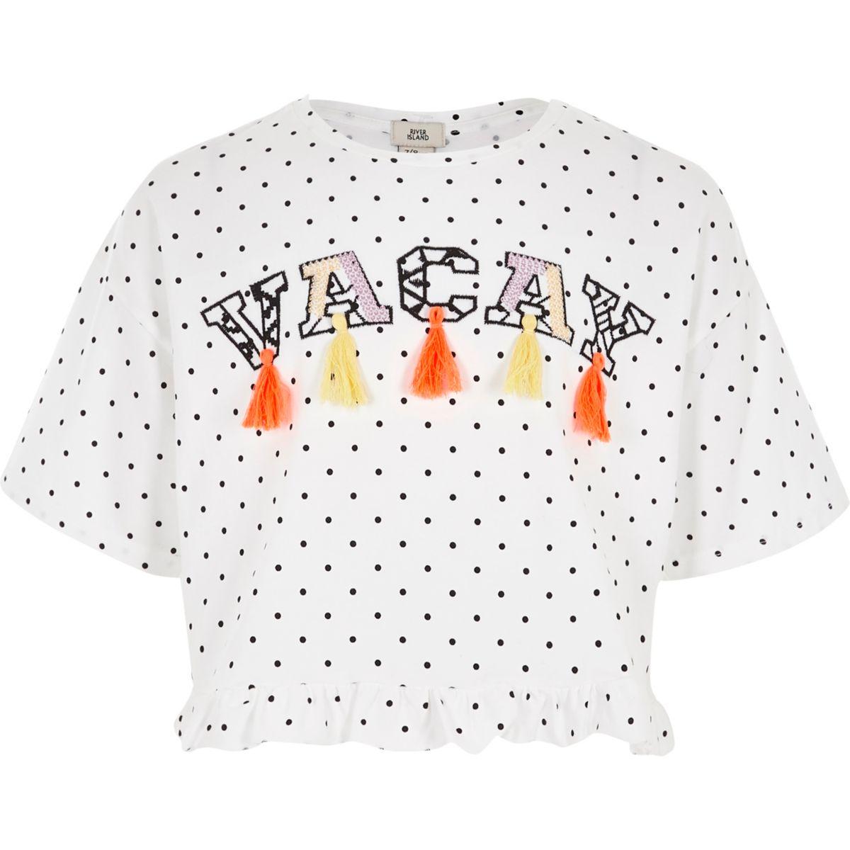 "Weißes, gepunktetes T-Shirt ""Vacay"""