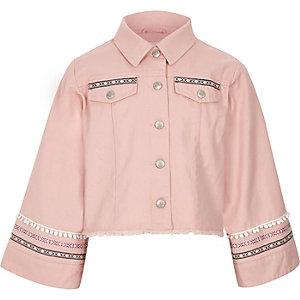 Girls pink embellished wide sleeve shacket