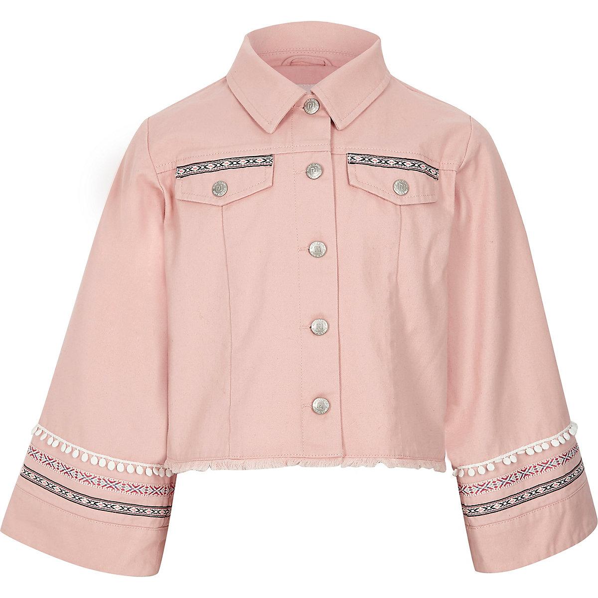 Veste-chemise rose ornée à manches larges pour fille
