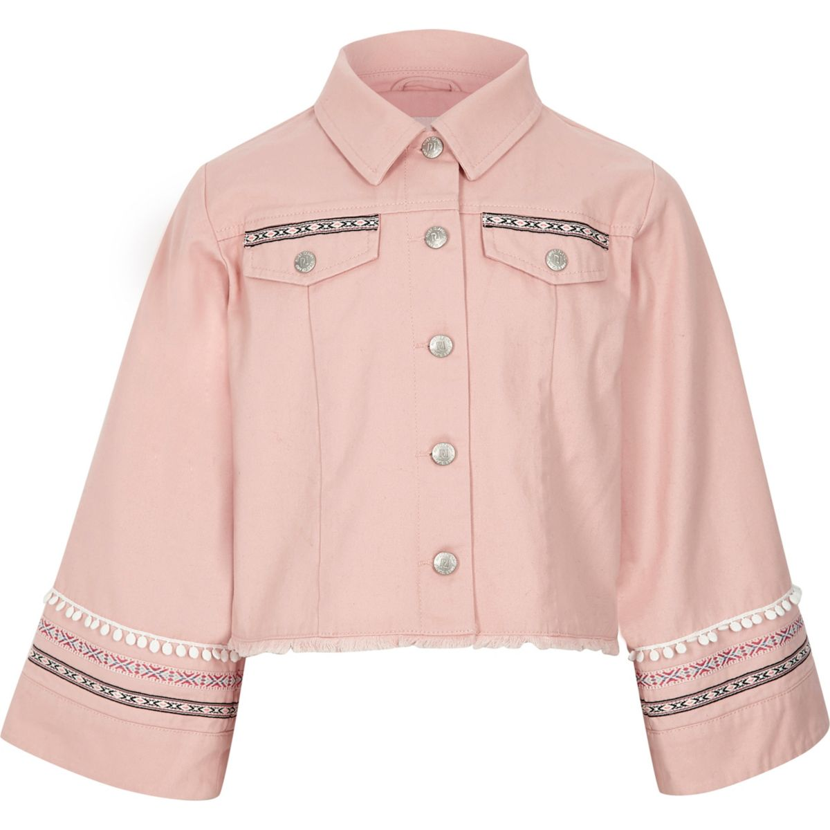 Girls pink embellished wide sleeve shacket