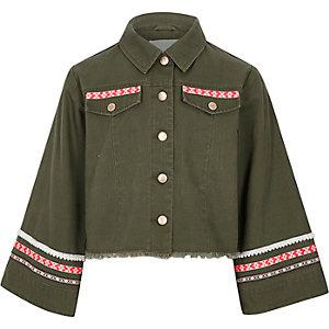 Girls khaki embroidered trim shacket