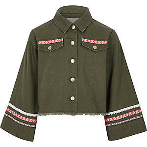 Girls khaki embroidered trim shacket