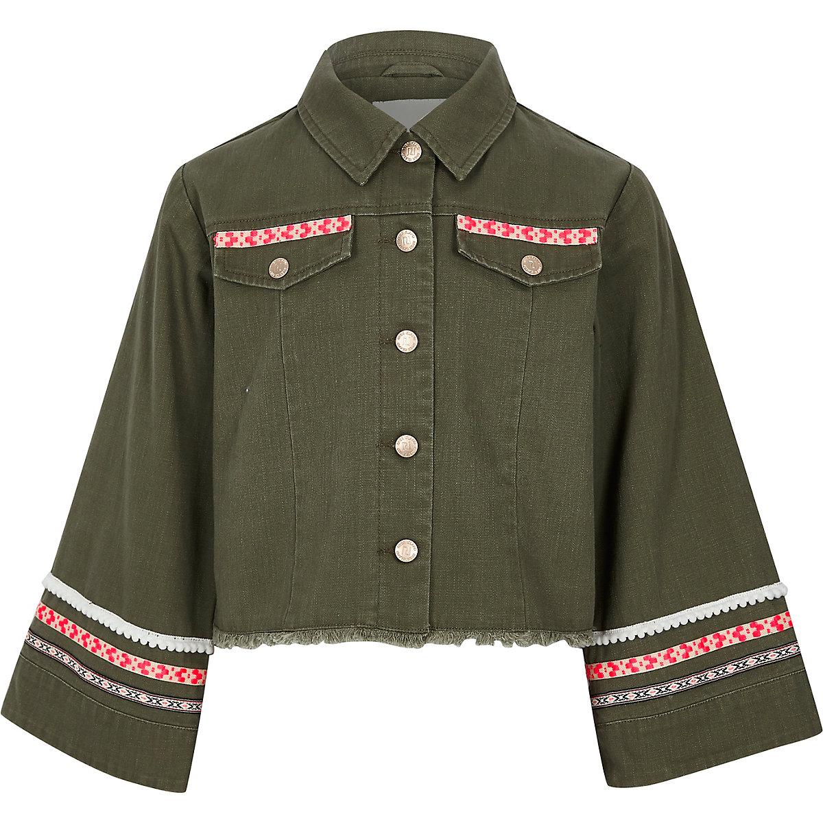 Girls khaki embellished wide sleeve shacket