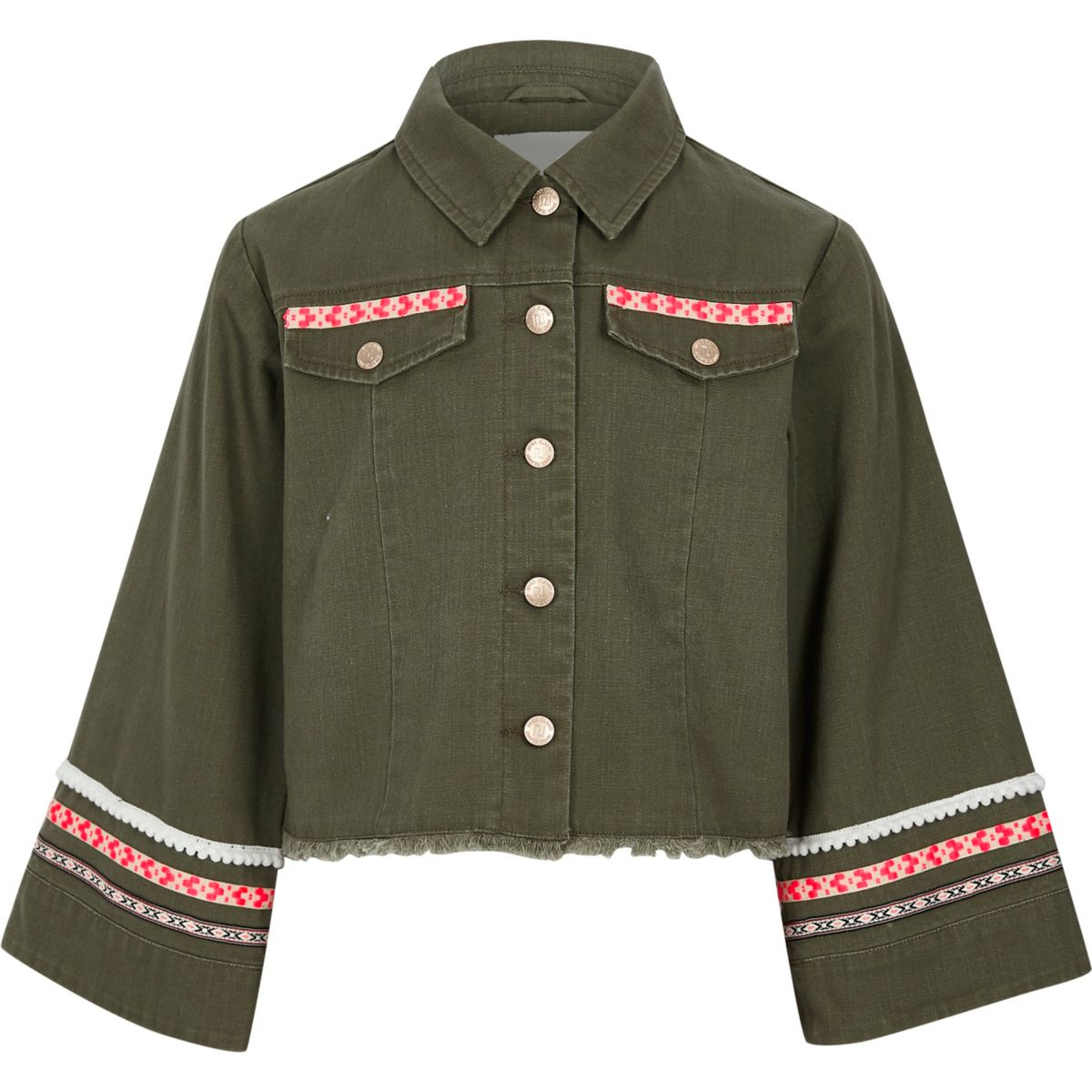 Girls khaki embellished wide sleeve shacket