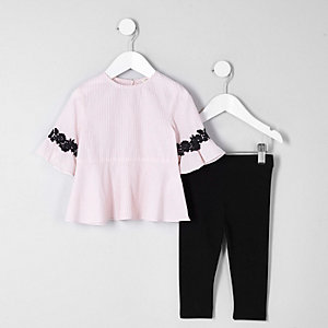 Ensemble avec top rayé rose mini fille