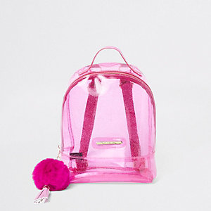 Girls pink glitter jelly backpack