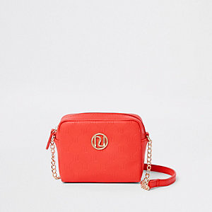 Girls coral RI monogram cross body chain bag