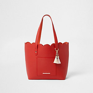 Girls red scallop shopper tote bag