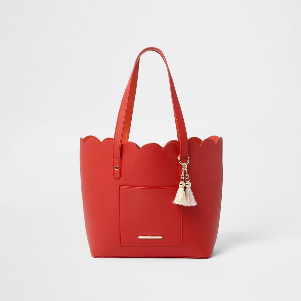 Girls red scallop shopper tote bag