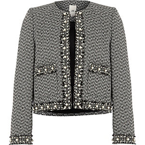 Girls black pearl trim boucle trophy jacket