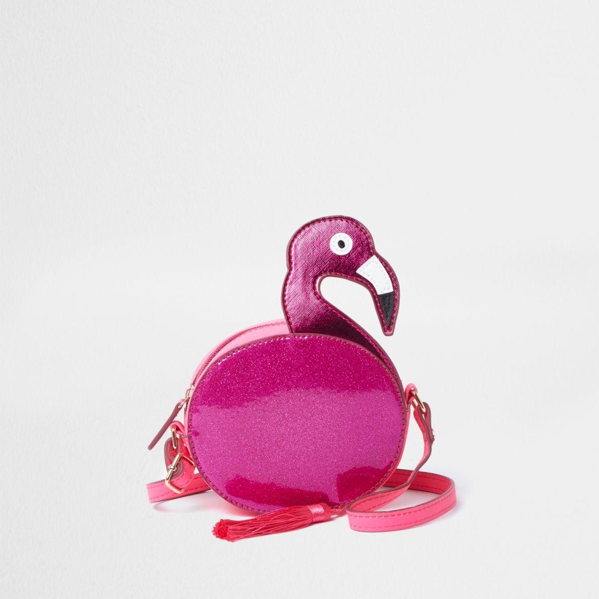 Girls pink glitter flamingo cross body bag