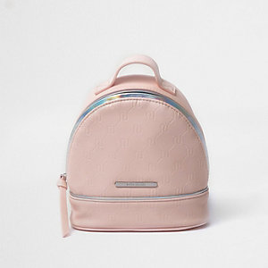 Girls pink RI embossed backpack
