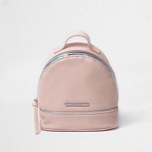 Sac à dos rose avec logo RI en relief pour fille