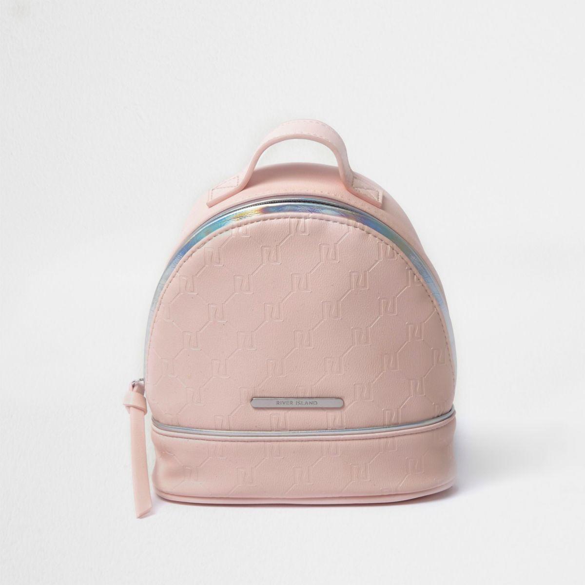 Girls pink RI embossed backpack