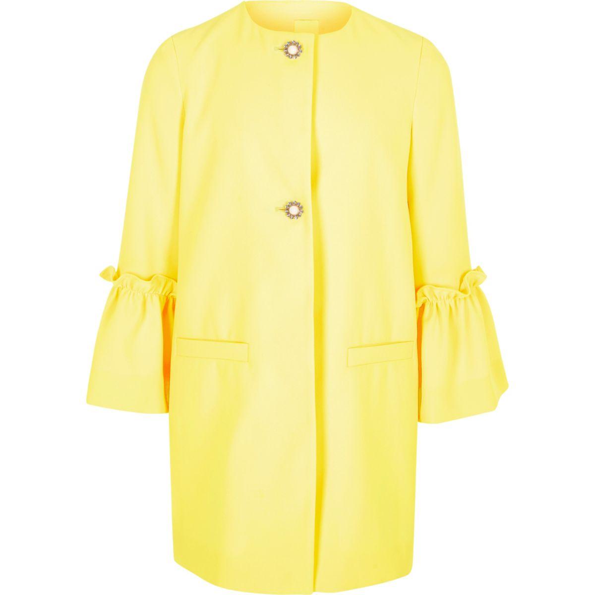 Girls yellow frill cuff pearl button coat