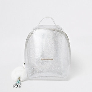 Girls silver glitter jelly backpack