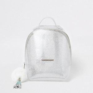 Zilverkleurige jelly-rugzak met glitter voor meisjes
