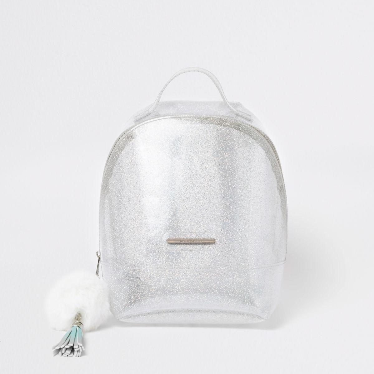 Girls silver glitter jelly backpack