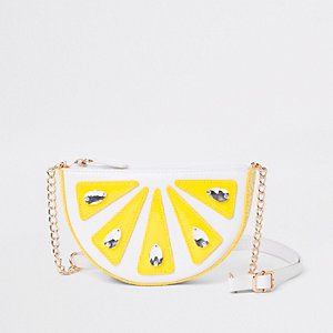 Girls white lemon embellished cross body bag