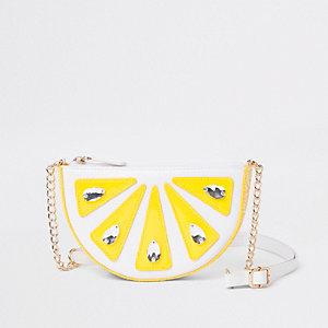 Witte verfraaide crossbodytas met citroenprint voor meisjes
