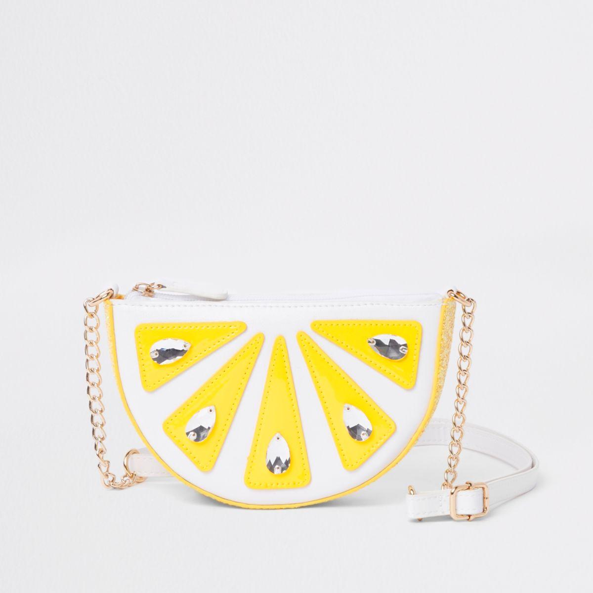 Sac à bandoulière blanc ornementé motif citron pour fille