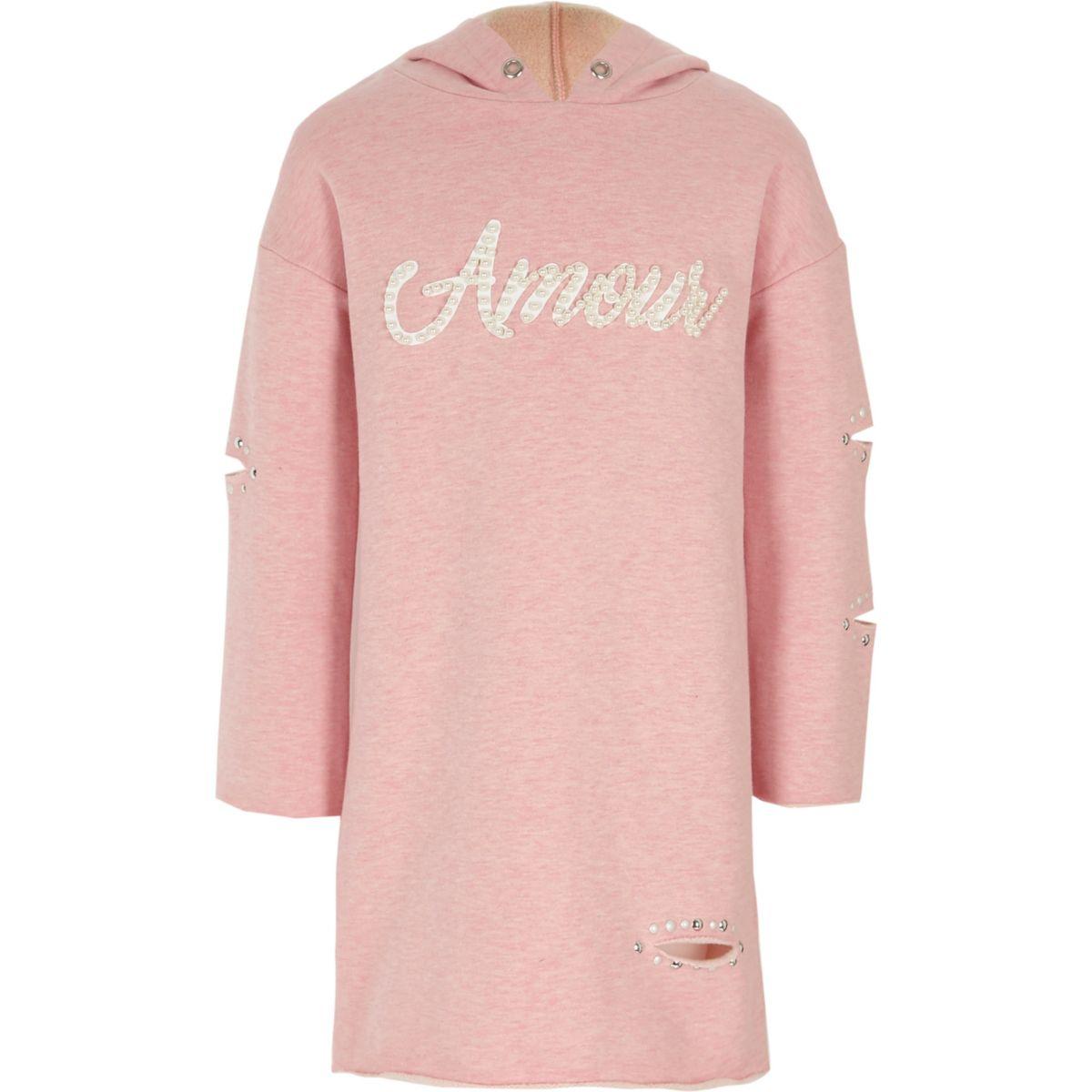 Robe «amour» rose chiné ornée de perles à capuche pour fille