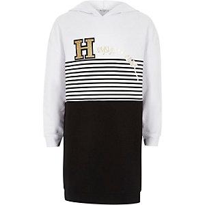 Zwarte gestreepte hoodie-jurk met 'happiness'-print voor meisjes