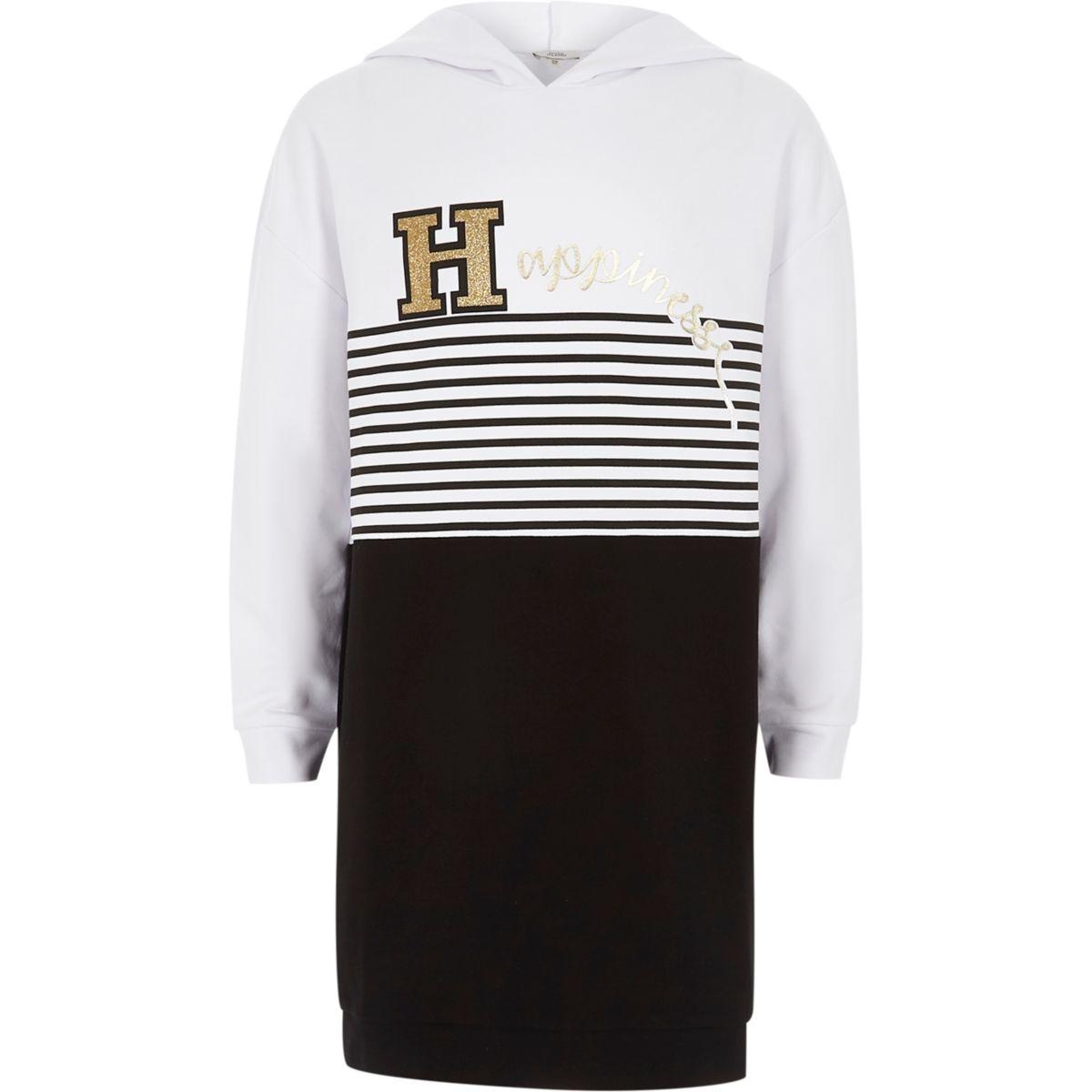 Girls black stripe 'happiness' hoodie dress