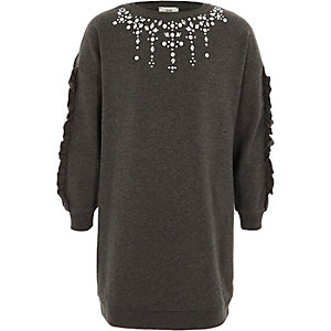 Girls dark grey embellished sweatshrit dress