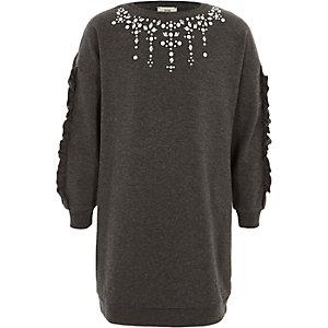 Donkergrijze verfraaide sweatshirtjurk voor meisjes