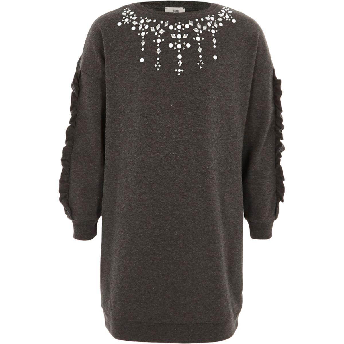 Girls dark grey embellished sweatshirt dress