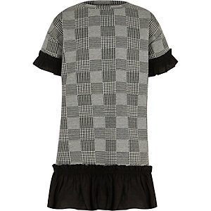 Girls grey dogtooth check ruffle trim dress