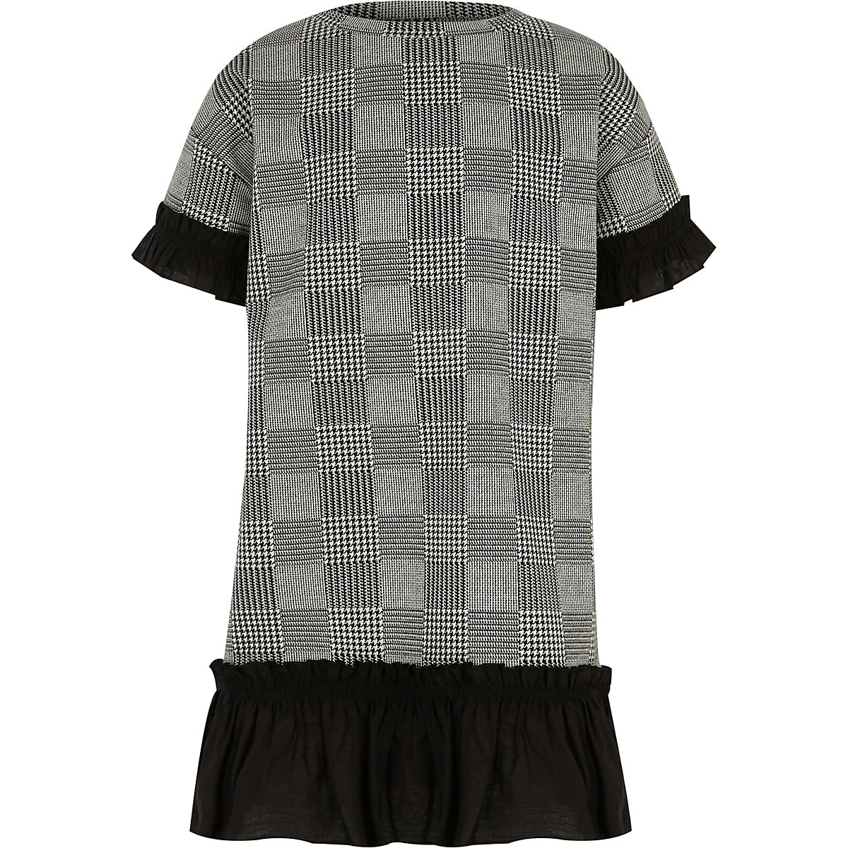 Girls grey dogtooth check ruffle trim dress