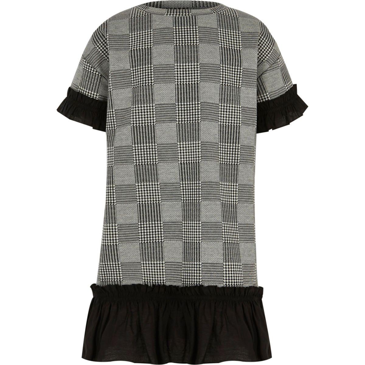 Kleid mit Hahnentritt-Muster und Rüschensaum