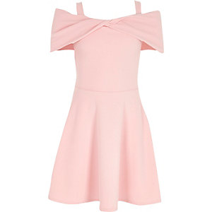 Girls pink bow bardot dress