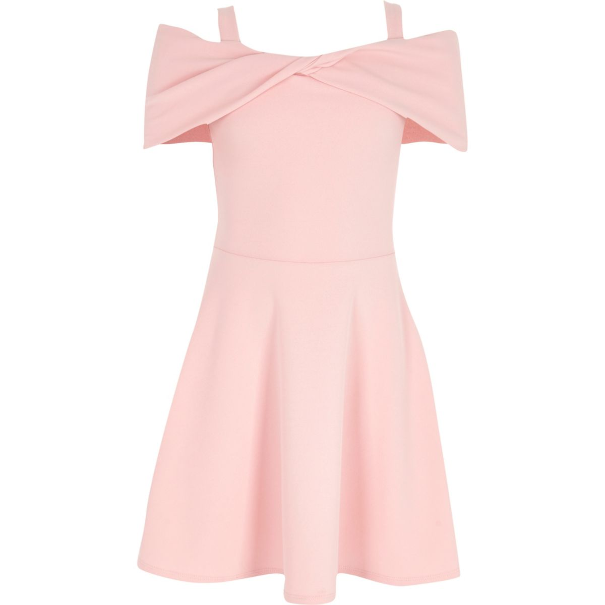 Girls pink scuba bow bardot skater dress