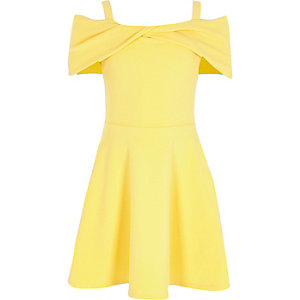 Girls yellow bow twist bardot skater dress
