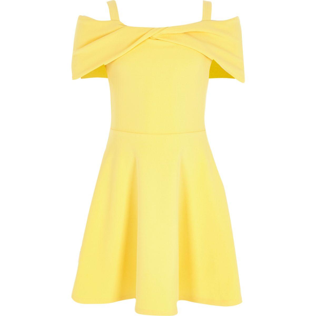 Girls yellow scuba bow bardot skater dress
