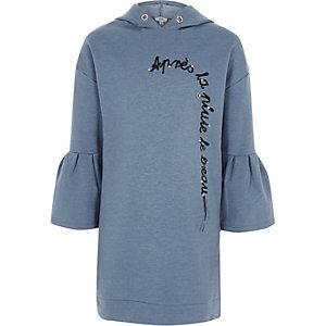 Robe à capuche «après» à strass bleue pour fille