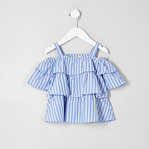 Mini girls blue frill cold shoulder top