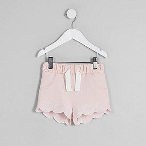 Mini - Roze short met geschulpte zoom voor meisjes