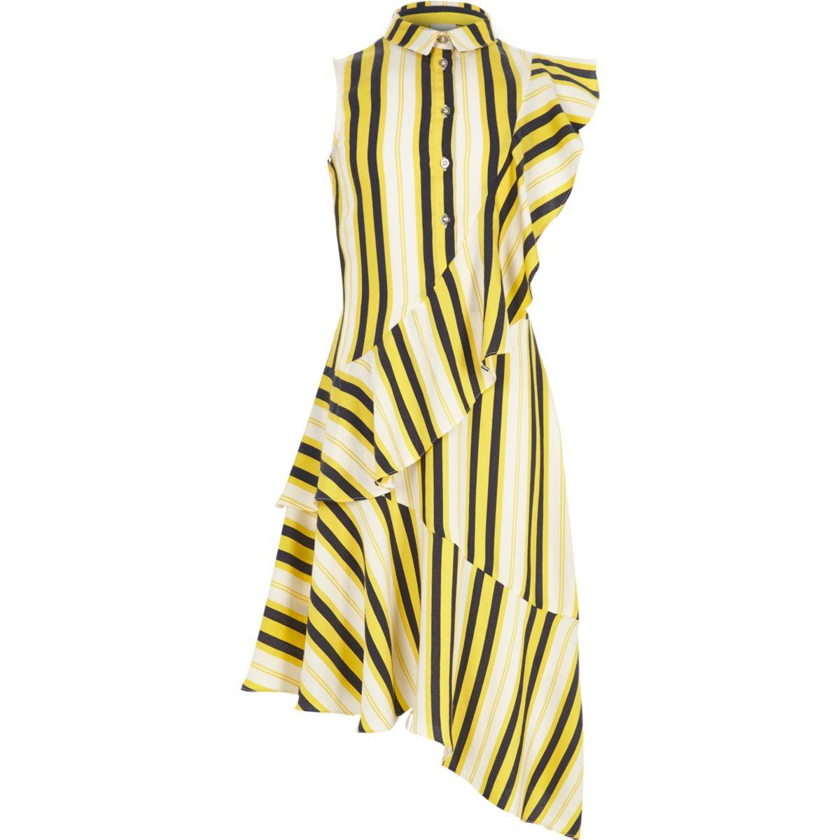 Girls yellow asymmetric frill shirt dress