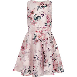 Girls pink floral prom dress